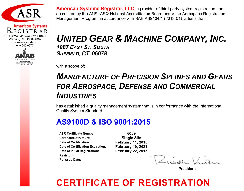 United Gear Machine Co Inc As9100d Iso90012015
