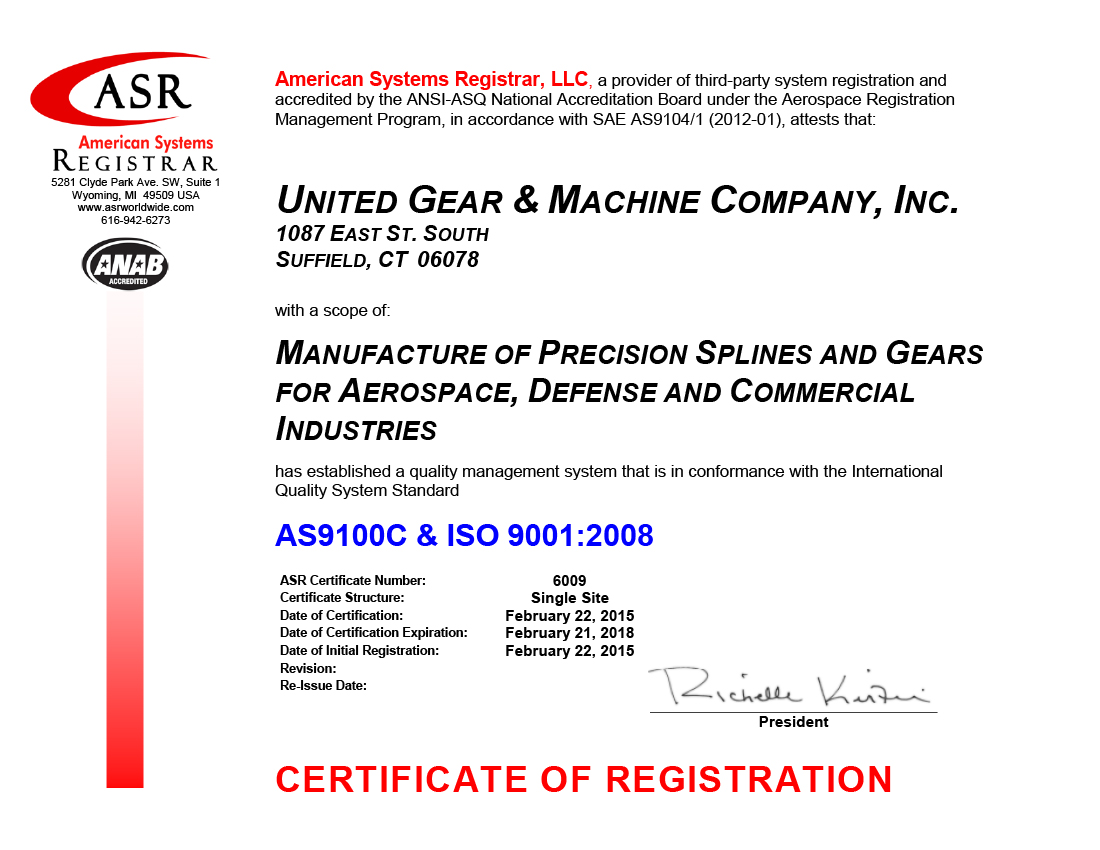 United Gear Machine Co Inc Official Press Release Re As9100